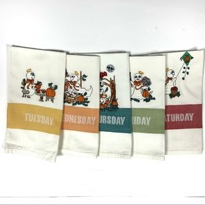 Days of the week linen hand dish towels Halloween